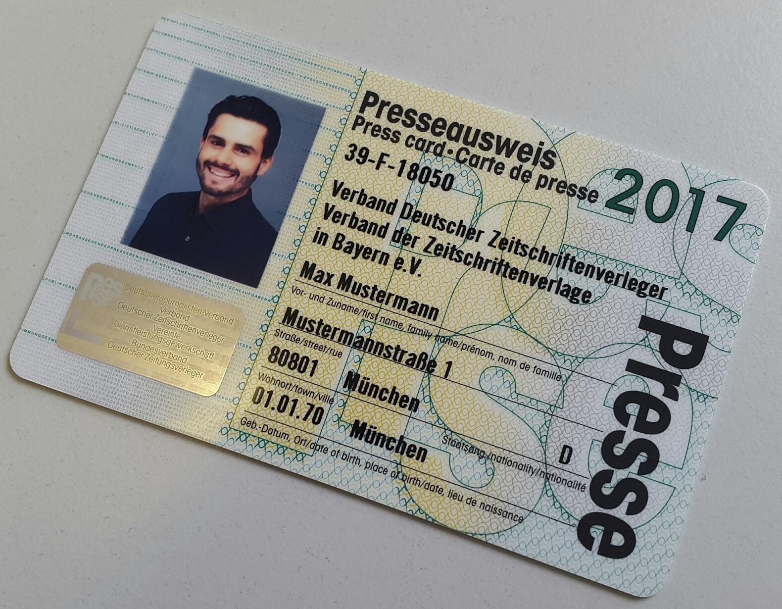 Beantragen Sie jetzt Ihren Presseausweis für 20   Verband der ...