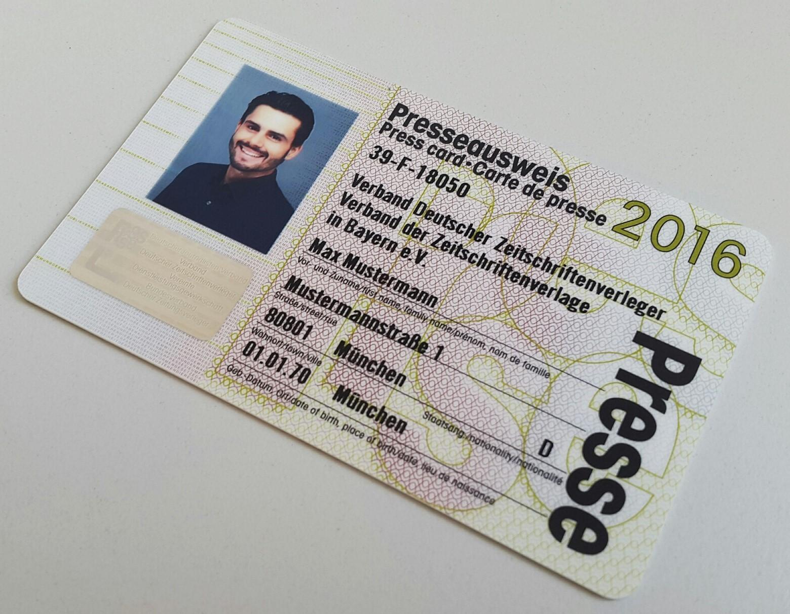 Presseasuweis Max Mustermann